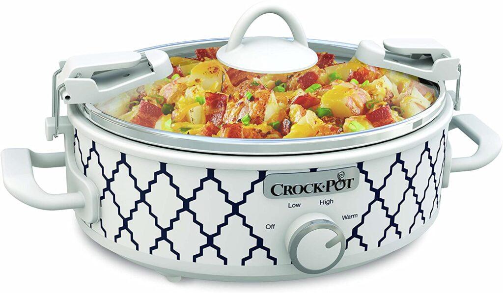 Crockpot 2.5-Quart Mini Casserole Crock Slow Cooker, White - Blue